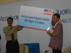 BRI, memberikan sumbangan Sarana dan Prasarana Ke SMAN 16 Surabaya