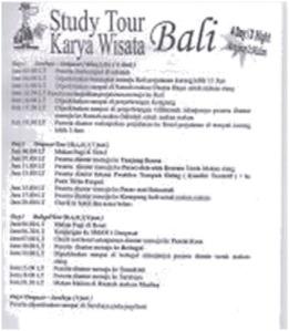 Jadwal Studi Tour Ke Bali Tgl 6 s.d 9 Juni 2013