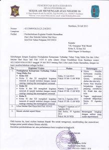 PEMBERITAHUAN PONDOK RAMADHAN DAN LIBUR SEKITAR HARI RAYA IDUL FITRI 2013